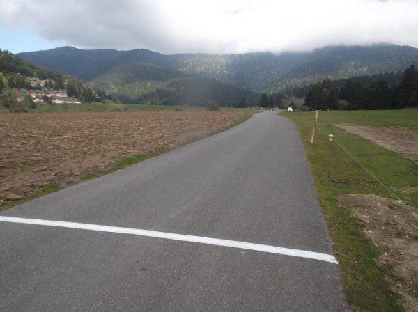La ligne d'arrivée de l'étape du Tour de France qui arrivera là le 8 juillet.